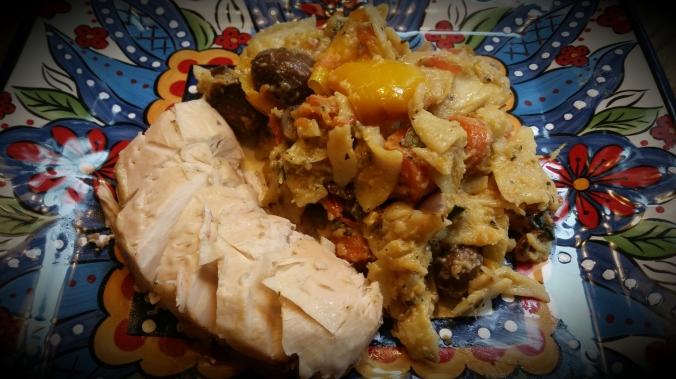 Smoked Chicken with Roasted Veggie Pasta