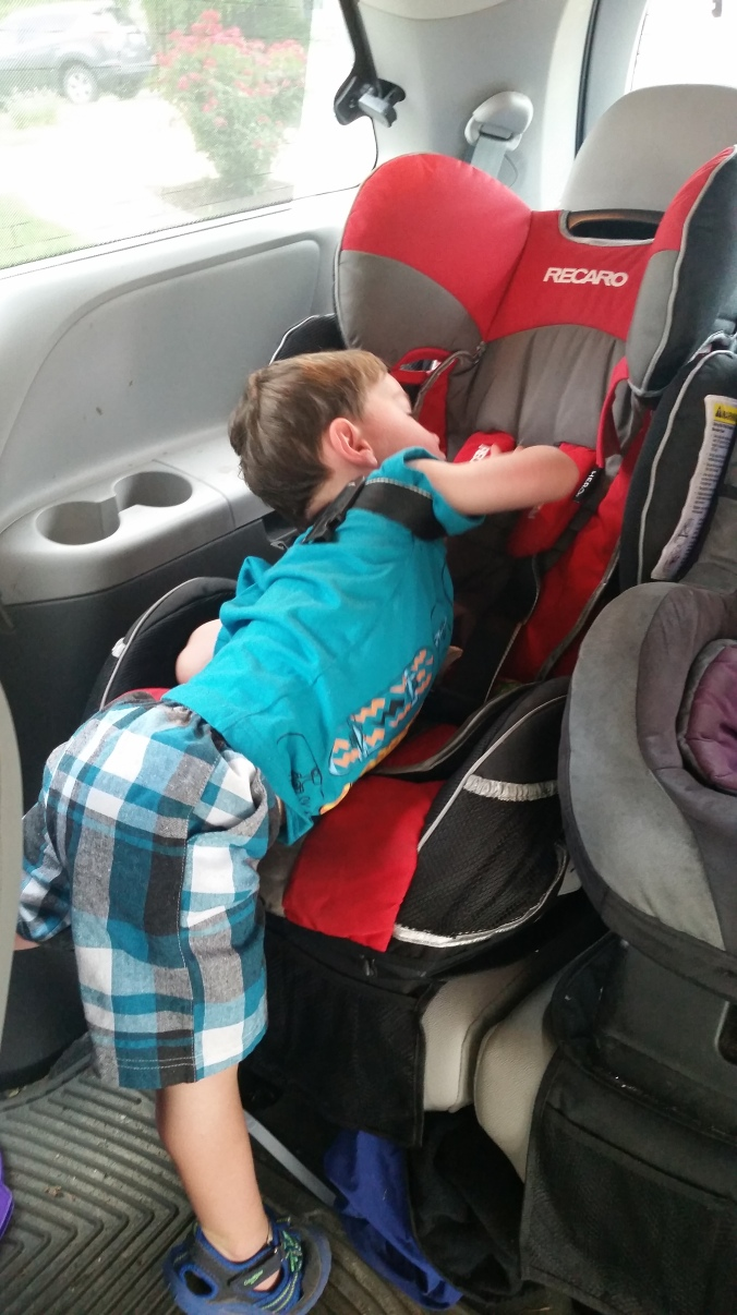 #2 stuck exiting his carseat