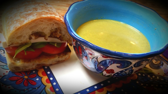 Dairy-free Caprese Sandwich with Creamy Kale Soup